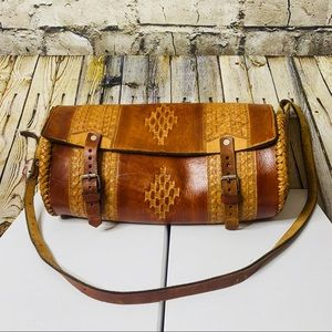 Tooled Cylinder Leather Bag
